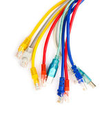 Multi colored computer network cables isolated on white backgrou — Stock Photo