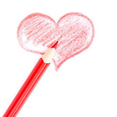 Red heart drawn by hand on paper — Stock Photo