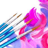 Farben, Palette, Pinsel — Stockfoto
