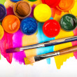 Stock Photo: watercolors and brushes