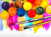 Watercolors and brushes — Foto Stock