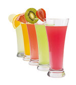 A Row of colorful juices — Foto Stock