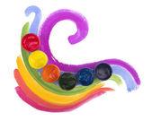 Art studio paints, palette — Stock Photo