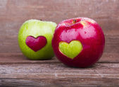 Two apples with heart — Foto Stock