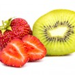 Kiwi Fruit and Strawberries on White — Stock Photo