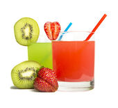 Strawberry & kiwi juice isolated on white — ストック写真
