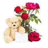 Teddy Bear and flowers — Stock Photo