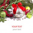 Stock Photo: Bright christmas composition with stars and sample text