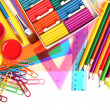 Stock Photo: Back to school and supplies isolated on white background