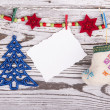 Christmas decoration with blank card — Stock Photo