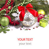 Bright christmas composition with stars and sample text — Stock Photo