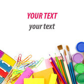 Colored pencils, back to school concept surface with copy space — Foto Stock