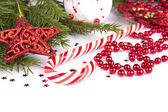 Christmas Decoration Holiday Decorations Isolated on White Backg — Stock Photo