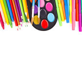 Paints, pencils and brushes — Stock Photo