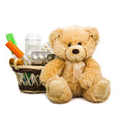 Teddy Bear with medical thermometer, pills and stethoscope isol — Stock Photo