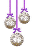 Christmas balls hanging with ribbon, isolated on white backgroun — Stock Photo