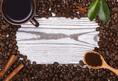 Coffee powder and beans as background texture — Foto Stock