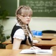 Stock Photo: Schoolgirl on board background