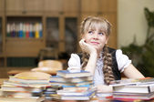 Schoolgirl with textbooks — Stock Photo