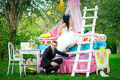 Wedding photo shoot in nature summer — Stock Photo