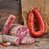 Sausage with cheese — Stock Photo