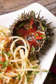 Spaghetti with sea urchins — Stock Photo