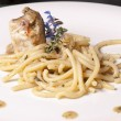 Bucatini with monkfish — Stock Photo