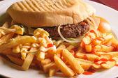Hamburger and potetos — Stock Photo