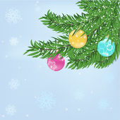 Christmas tree and baubles — Stock Vector