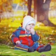 Little baby in the autumn park — Stockfoto