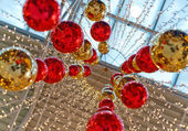 Bright red and gold full-spheres — 图库照片