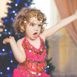Stock Photo: Happy smiling baby girl, adorable cheerful female child enjoying dance