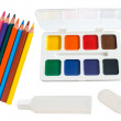 Shool accessories, pencil, eraser, glue, paintson on a white bac — Stock Photo