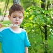Little boy blowing soap bubbles — Stock Photo