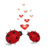 Ladybug with hearts, abstract valentines background. — Stock Vector