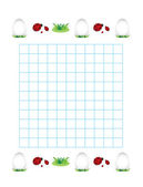 Sheet in a cage with ladybirds and eggs — Cтоковый вектор
