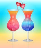 Solar cocktail for lovers on the beach. vector EPS 10. — Vector de stock