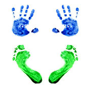 Watercolor handprints and footprints little baby — Stock Photo