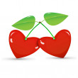 Two red cherries in a heart shape on white background — Stok Vektör