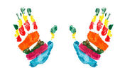 Watercolor hands print a kid — Stock Photo