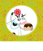 Birthday card I carnival background and a cake — Stock Vector