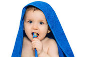 Little baby brushing his teeth — Stock Photo