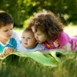 The two brothers and sister are the grass in the park — Stock Photo