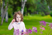 Girl blows bubbles in a park on a background of green grass and — Stock Photo