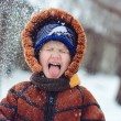 Stock Photo: Boy playing snowballs and snow catches tongue