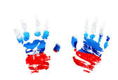 Watercolor prints of children's hands-colored flag of Russia. — Stock Photo