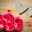 Valentine hearts and red tulips on a wooden background. — 图库照片