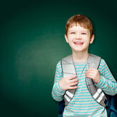 Schoolboy with books and a bag on a green chalkboard — Stock Photo
