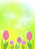 Tulips on green bokeh. Spring background. — Stock Vector