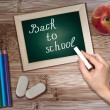 "Stock Photo: Hand with chalk writing on blackboard the words ""Back to School"""